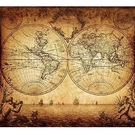 Vintage Old World Map Poster Print Art 1733 Nautical Sailing Ship ...