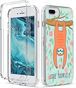 for iPhone 8 Plus Case Clear Cute Sloth Design Ultra-Thin Shockproof Soft TPU with Transparent PC Bumper Case for Apple iPhone 7/8 Plus