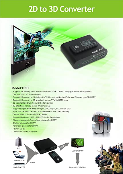 AdapSonic HD 2D To 3D Video Converter box for HDTV: Amazon.co.uk ...