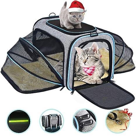 OMORC Transportin Gato Perro, Bolsa de Transporte Transpirable para Mascotas, Estructura Sólida Fácil de Almacenamiento y Espaciosa, 76*46*25CM, ...