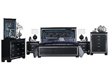 Amazon.com: Algiers 6PC Bedroom Set Cal King LED Bed ...