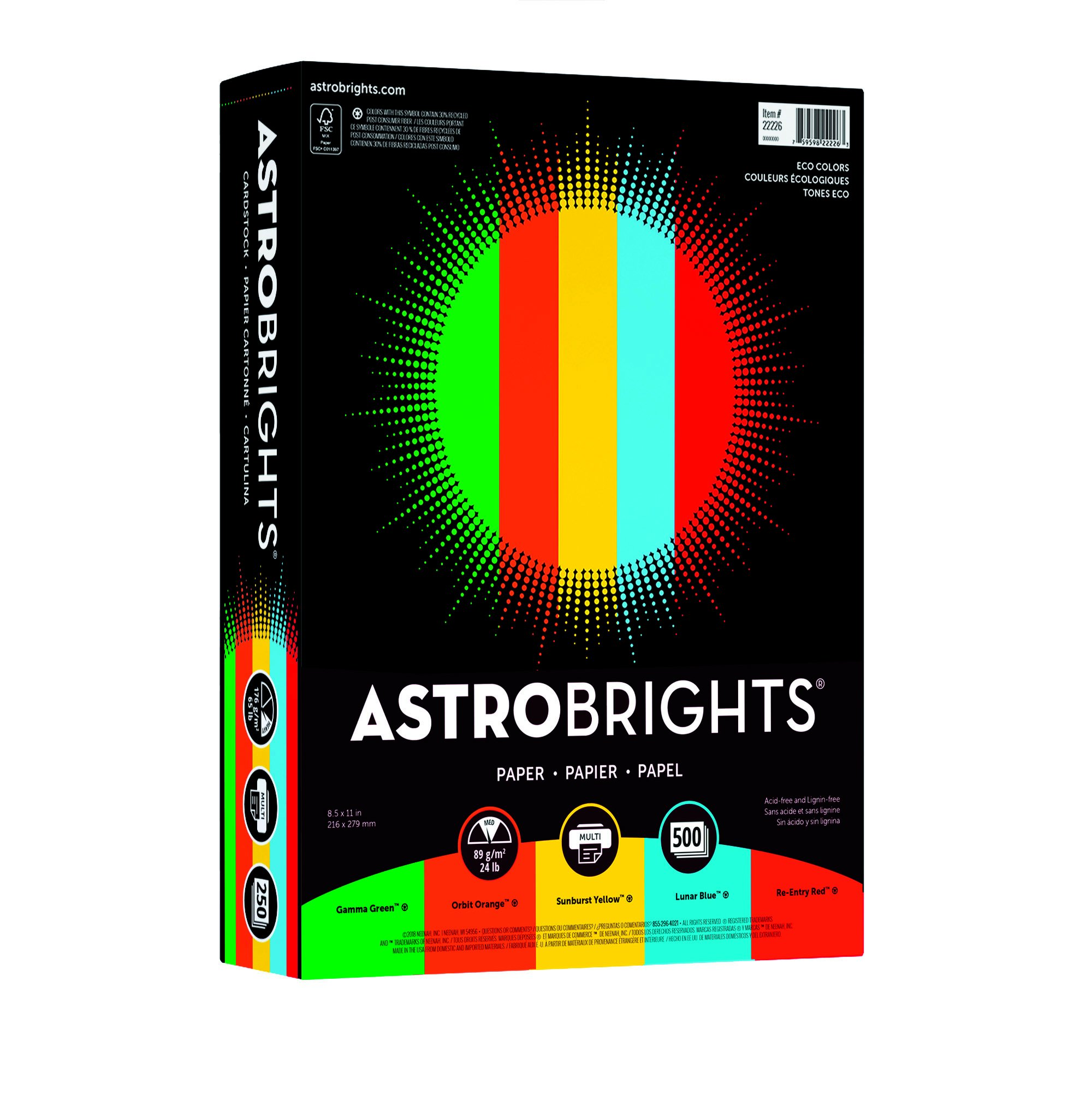 Astrobrights Color Paper, 8.5'' x 11'', 24 lb/89 gsm,''Eco'' 5-Color Assortment, 500 Sheets (22226) by Neenah