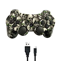 PUNING Wireless Controller for PS3 Witch Cable(Skull)