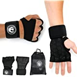 Weight Lifting Gloves with wrist wrap support and heavy duty silicon grip black for power body building- light weight crossfit gear for men and women by Freedom Fitness World