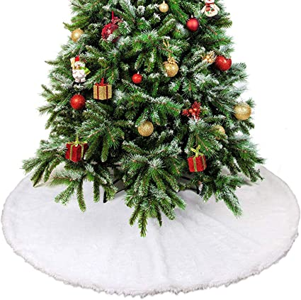 Albero Di Natale Diametro 90.Gonna Per Albero Di Natale In Peluche Effetto Neve Base Copribase Decorazione Perfetta Per Il Tuo