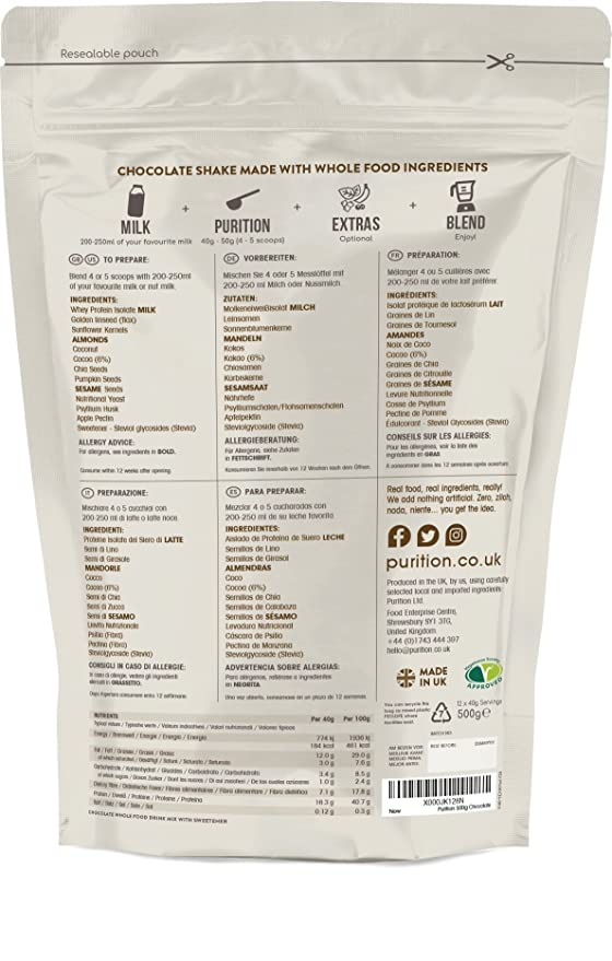 Purition Batido de proteínas de Chocolate (500g). Batido para el desayuno: Amazon.es: Salud y cuidado personal