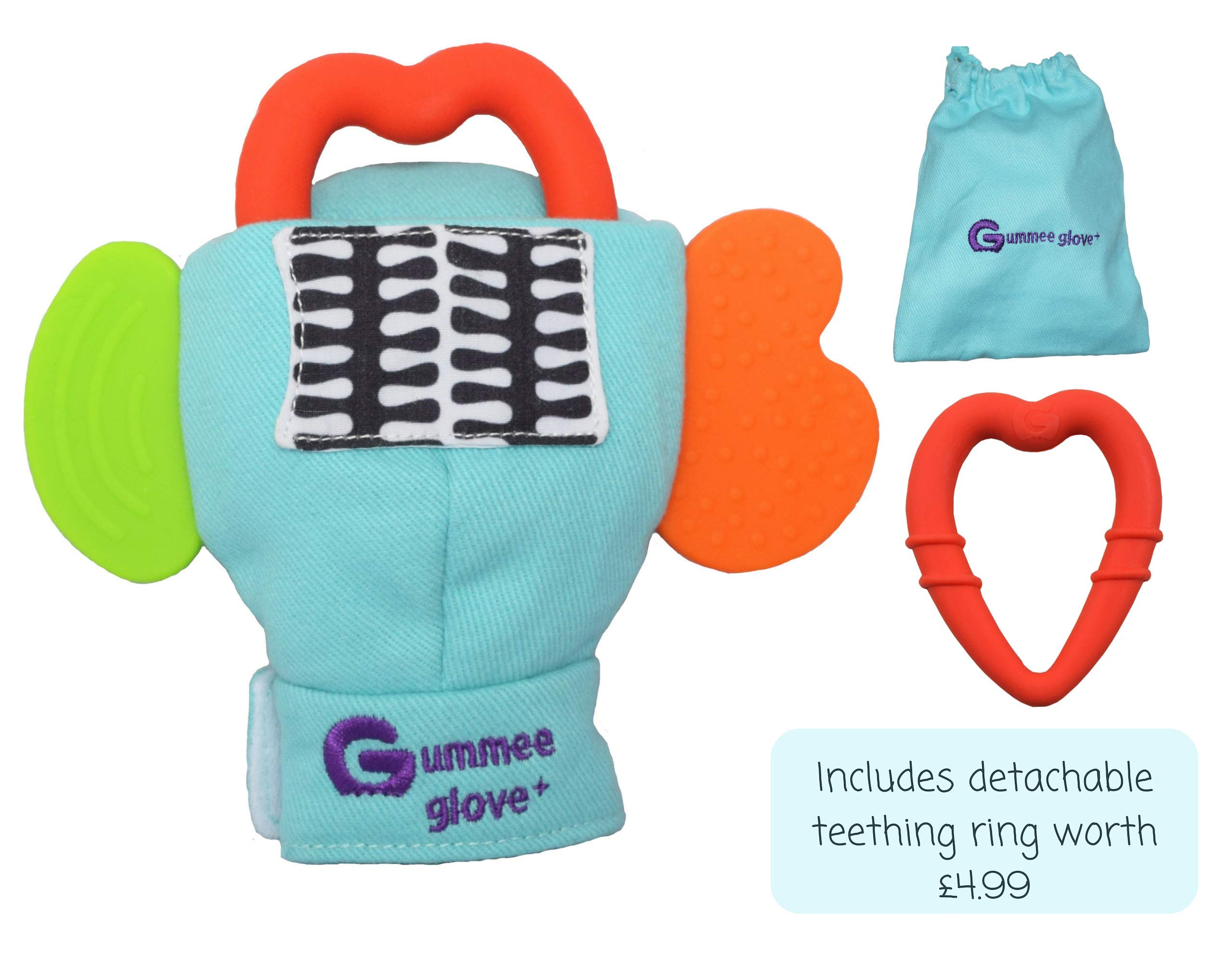 Gummee Glove Baby Teething Mitten Large 6 Months + Premium Quality Detachable Teether Ring and Travel Bag - Turquoise - Undroppable - Soothe Babies Painful Gums Naturally by Gummee