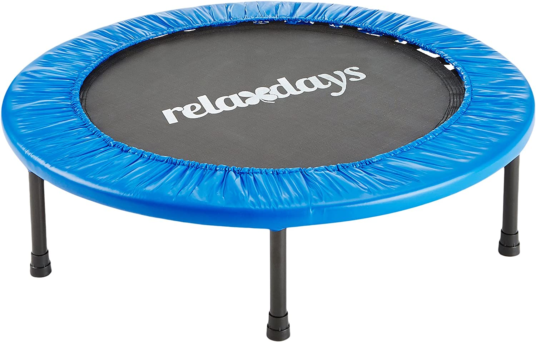 Relaxdays Fitness trampolín Elegir Bien 91o 96cm de diámetro, Interior Cama elástica Resistencia formación Ejercicio aeróbico, soporta hasta 100kg, Color Azul