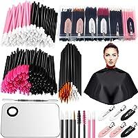 260 Pieces Disposable Makeup Tools Kit, Includes Eyeliner Brushes Mascara Wands Lipstick Applicators Makeup Hair Clips…