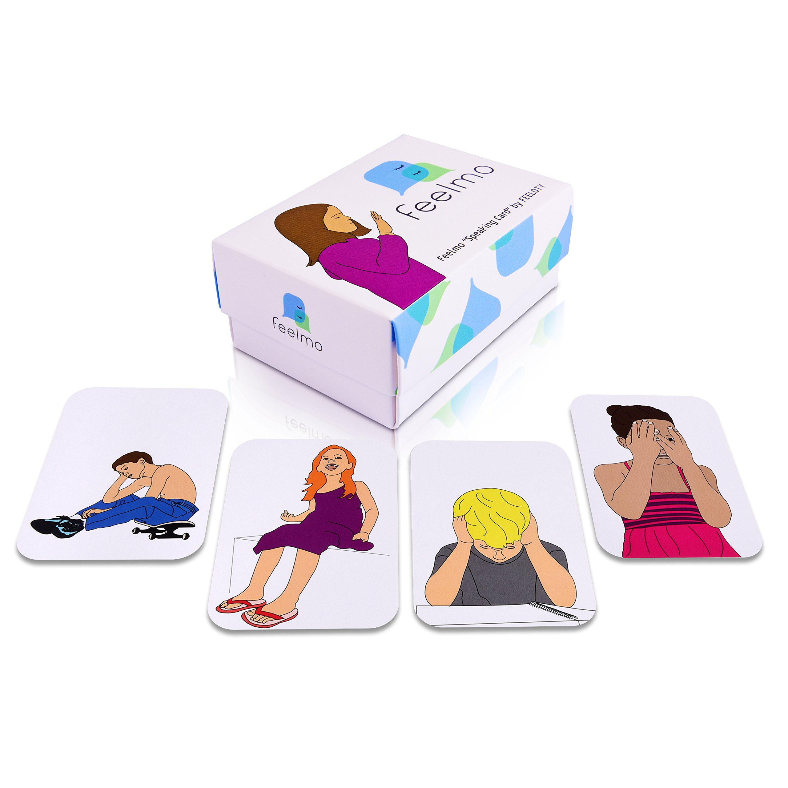 Feelmo Speaking Cards - Social & Emotional Skills Development - Children Educational Therapy Card Game + CBT Instructions Booklet