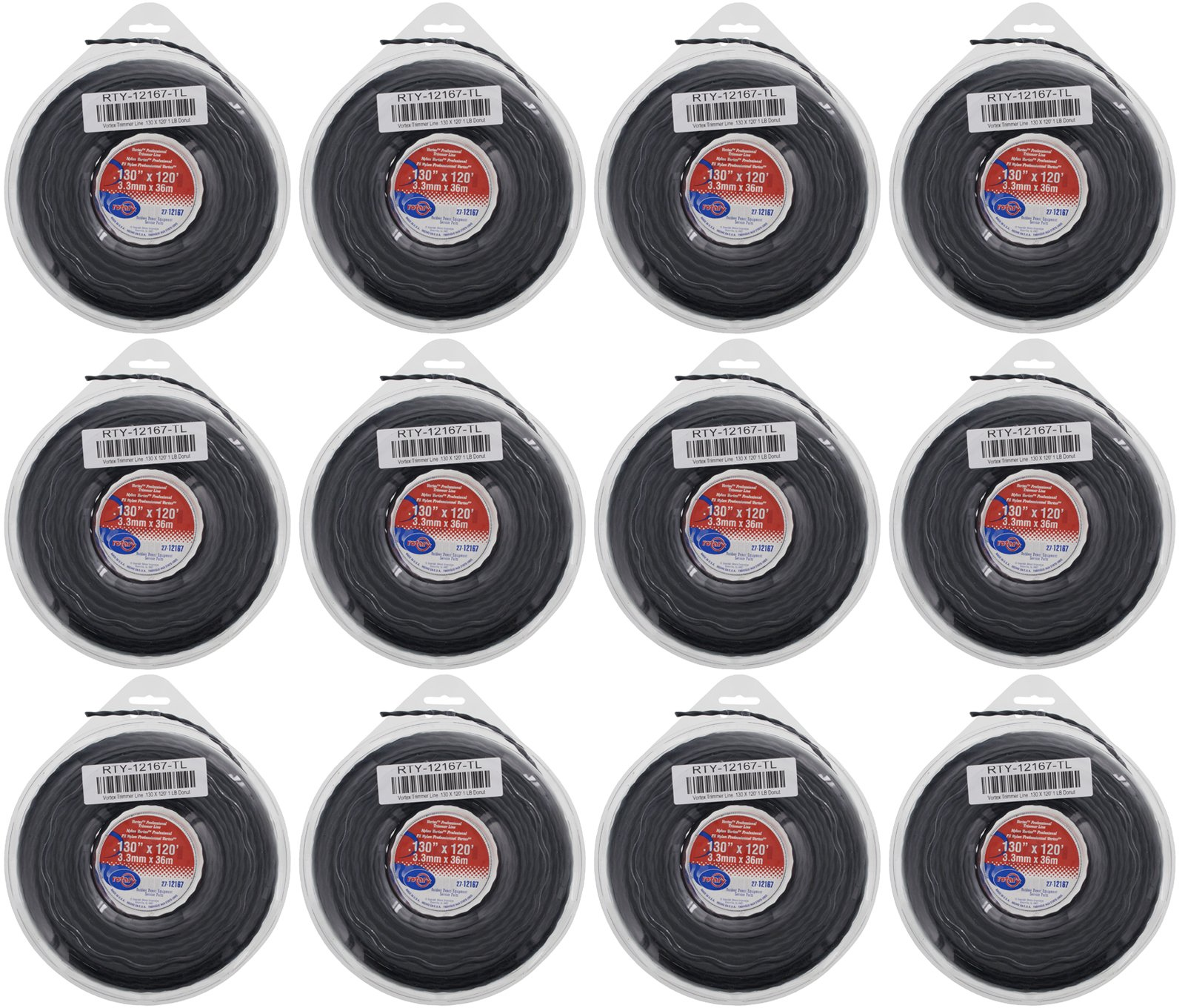Rotary 12 Pack of Vortex Trimmer Line 12167 .130 x 120 1 LBS Donuts