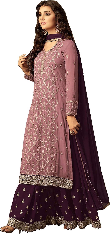 Delisa Indian//Pakistani Ethnic wear Georgette Plaazosharara for Womens sharara Dress Indian Women