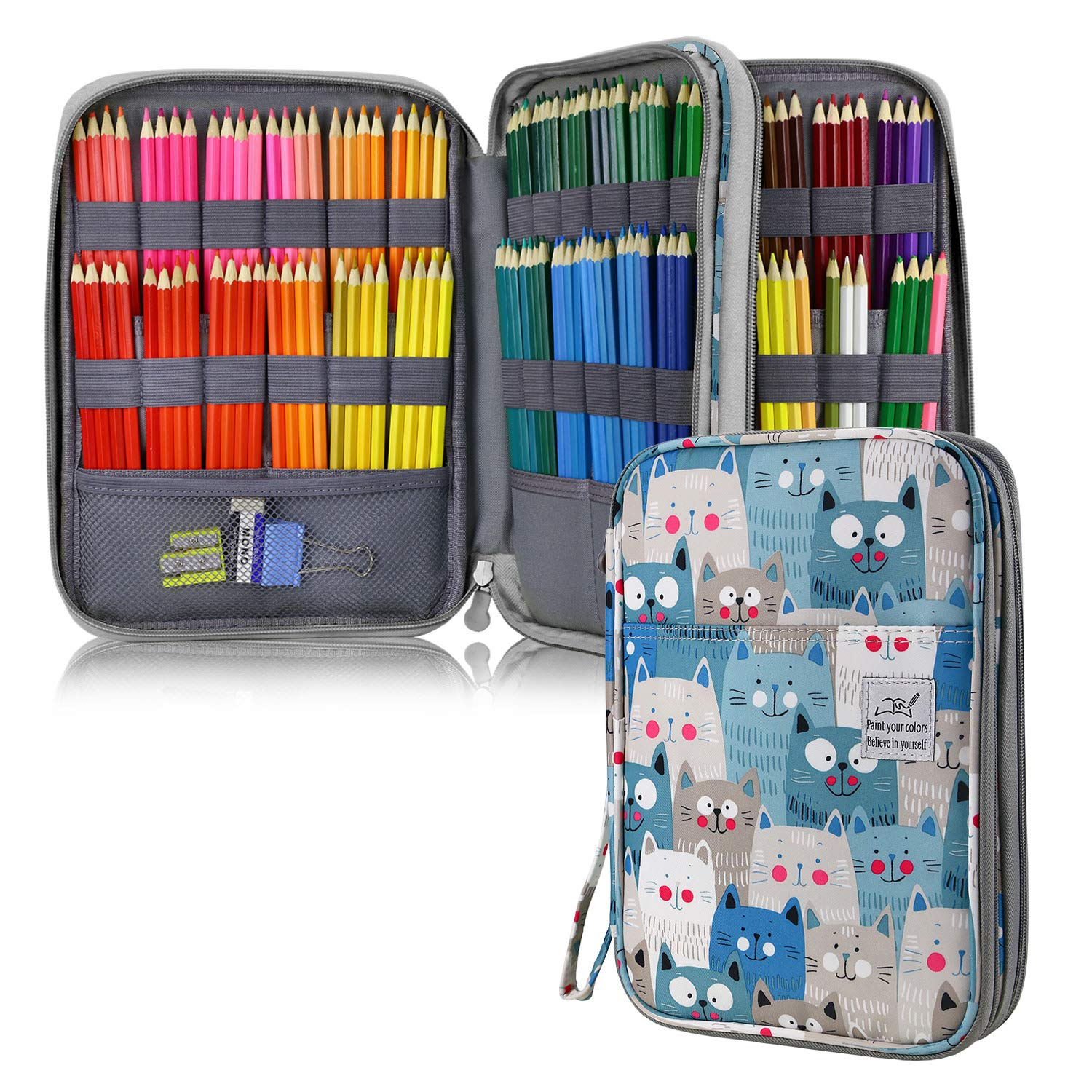 YOUSHARES 192 Slots Colored Pencil Case, Large Capacity Pencil Holder Pen Organizer Bag with Zipper for Prismacolor Watercolor Coloring Pencils, Gel Pens for Student & Artist (Big-Faced Cat) by YOUSHARES