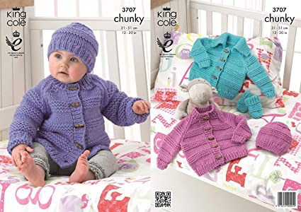 King Cole Baby Jacket, Hat & Mittens Comfort Knitting Pattern 3707