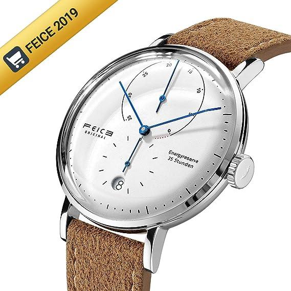 Automatico Reloj FEICE Relojes Mecánicos con Espejo Arqueado Mecánicos Movimiento Multifunciones Reloj de Pulsera para Hombre - FM202: Amazon.es: Relojes