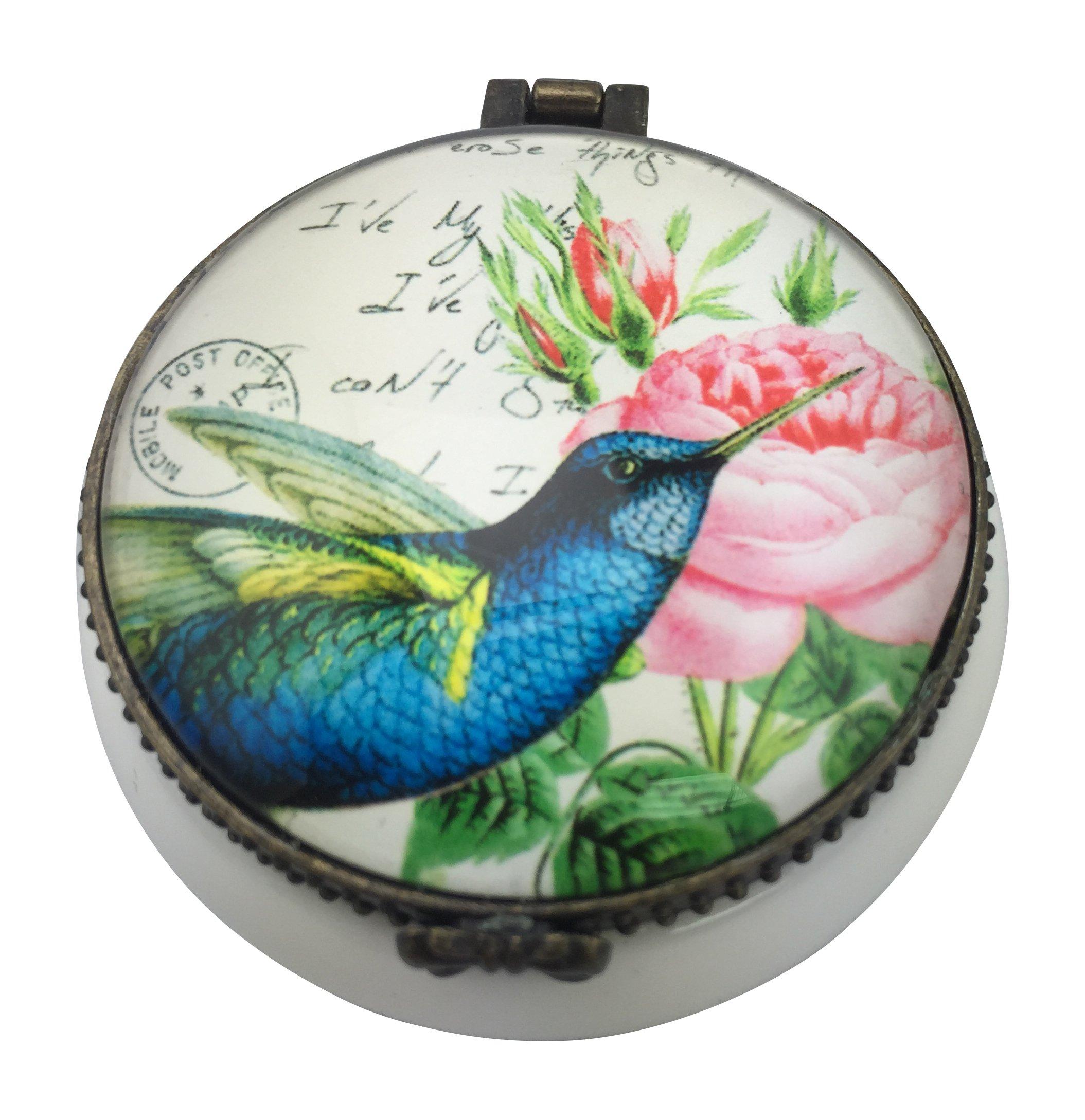 Value Arts Blue Hummingbird French Inspired Trinket Box, Ceramic and Glass, 2 Inch Diameter