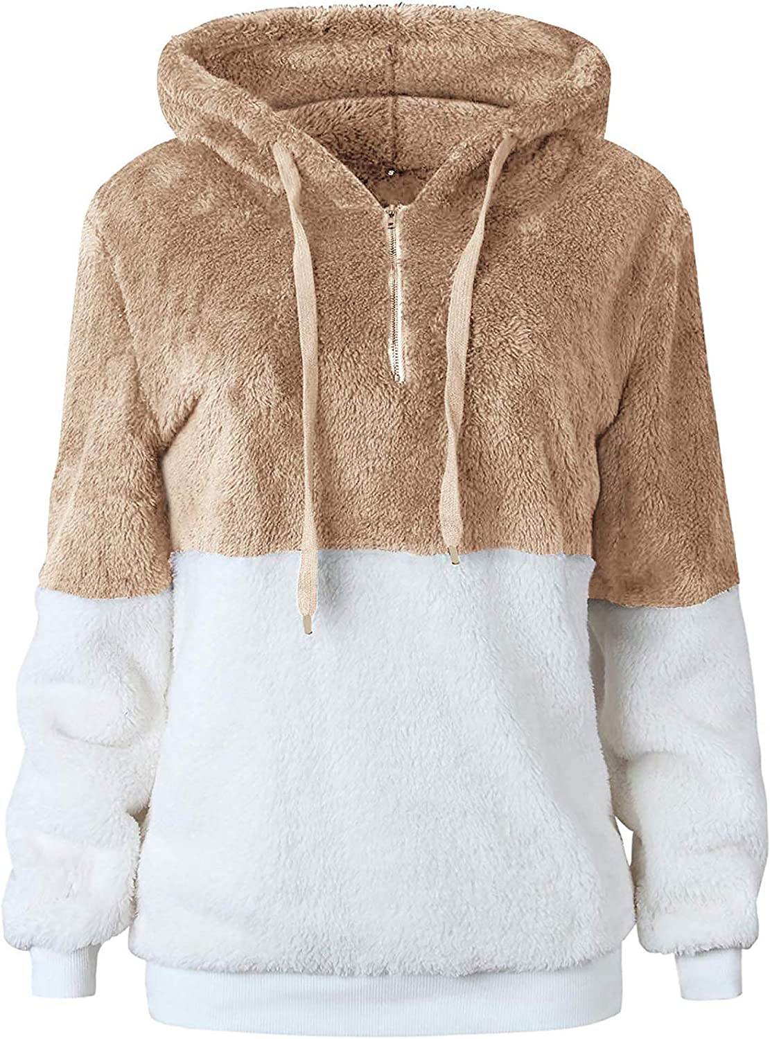 Oyamiki Womens Fuzzy Hoodies Casual Loose Pullover Hooded Sweatshirt Outwear with Pockets? Khaki