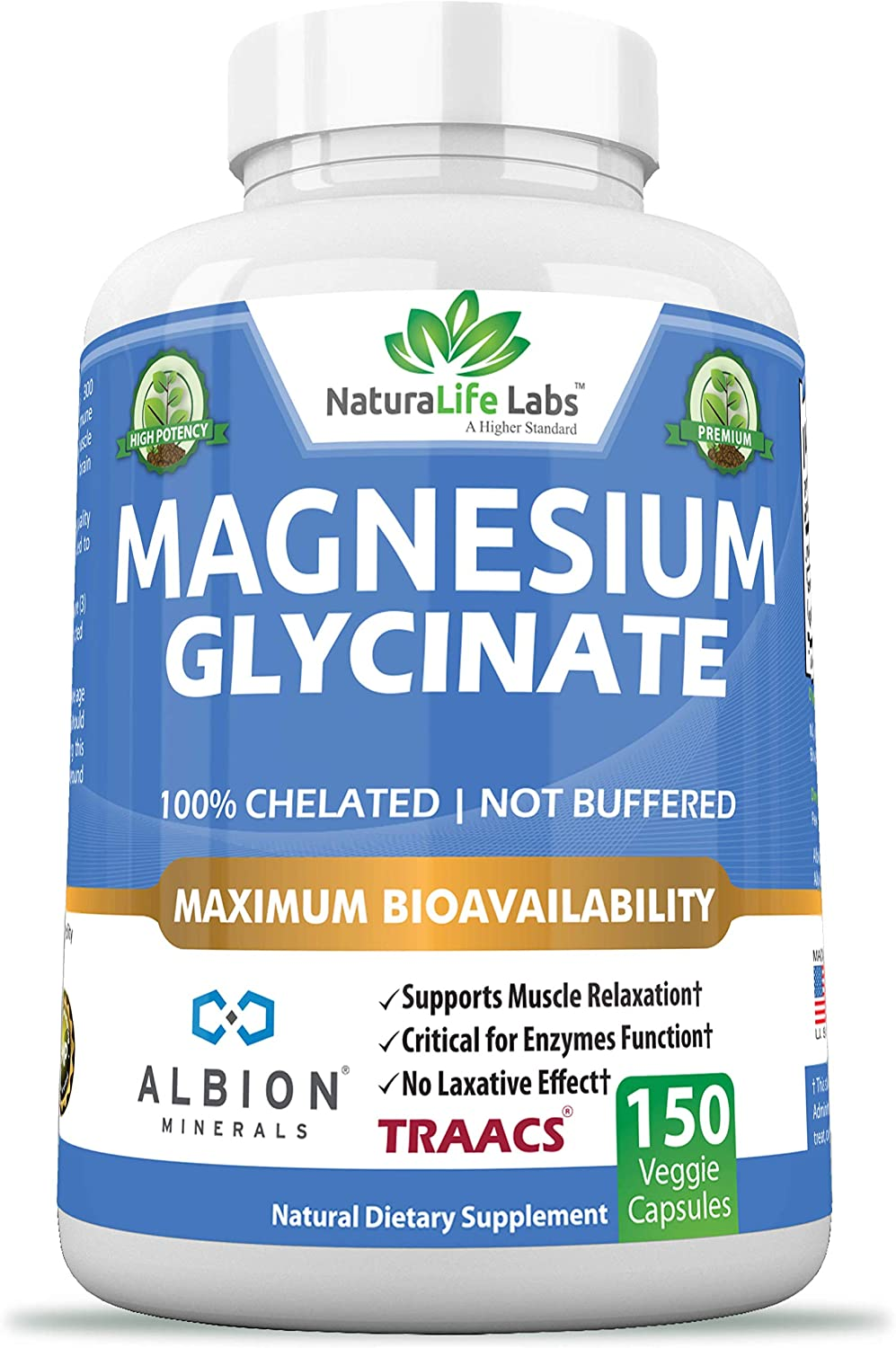 Magnesium Glycinate 100% Albion Minerals TRAACS Maximum Bioavailability Chelate No laxative effect Not buffered Vegan Helps Function of muscles, bones, heart Non-GMO 150 capsules