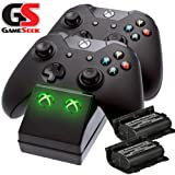 Xbox One Twin Charging Cradle (Xbox One Charge Dock +2 Rechargeable Batteries)