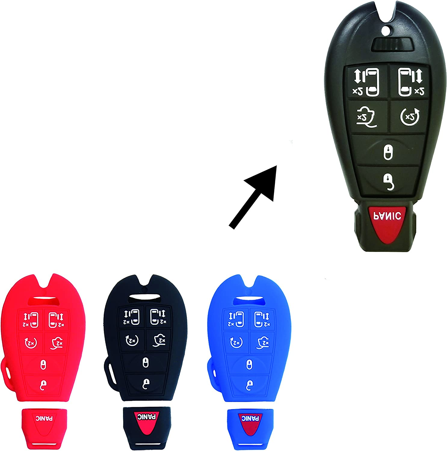 Volkswagen Routan BAR Autotech Remote Key Silicone Rubber Keyless Entry Shell Case Fob and Key Skin Cover fit for Chrysler Town Country Van 1 Pair Dodge Grand Caravan Black+Red