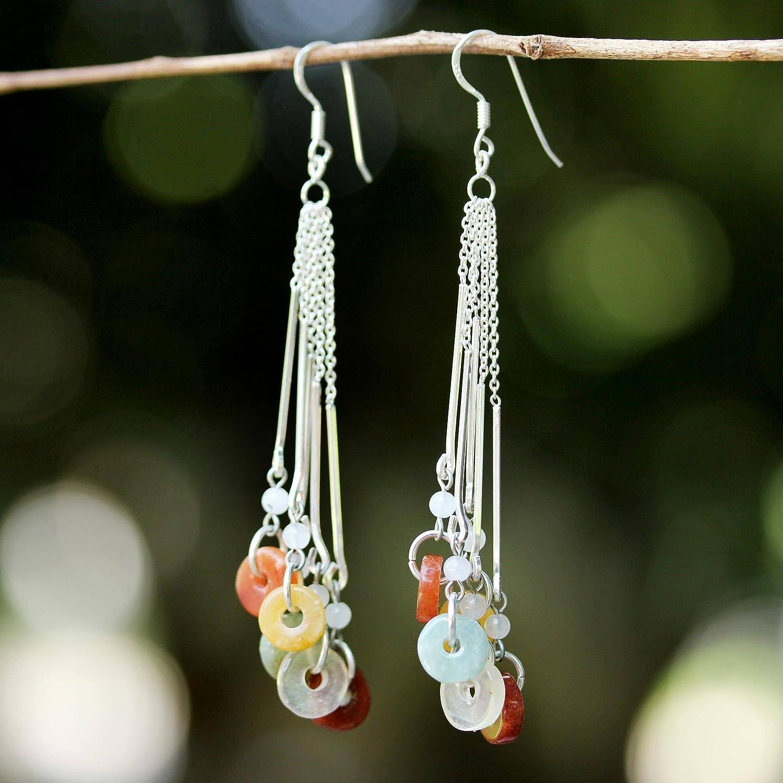 NOVICA .925 Sterling Silver Jade and Rainbow Moonstone Waterfall Earrings, Between Nations