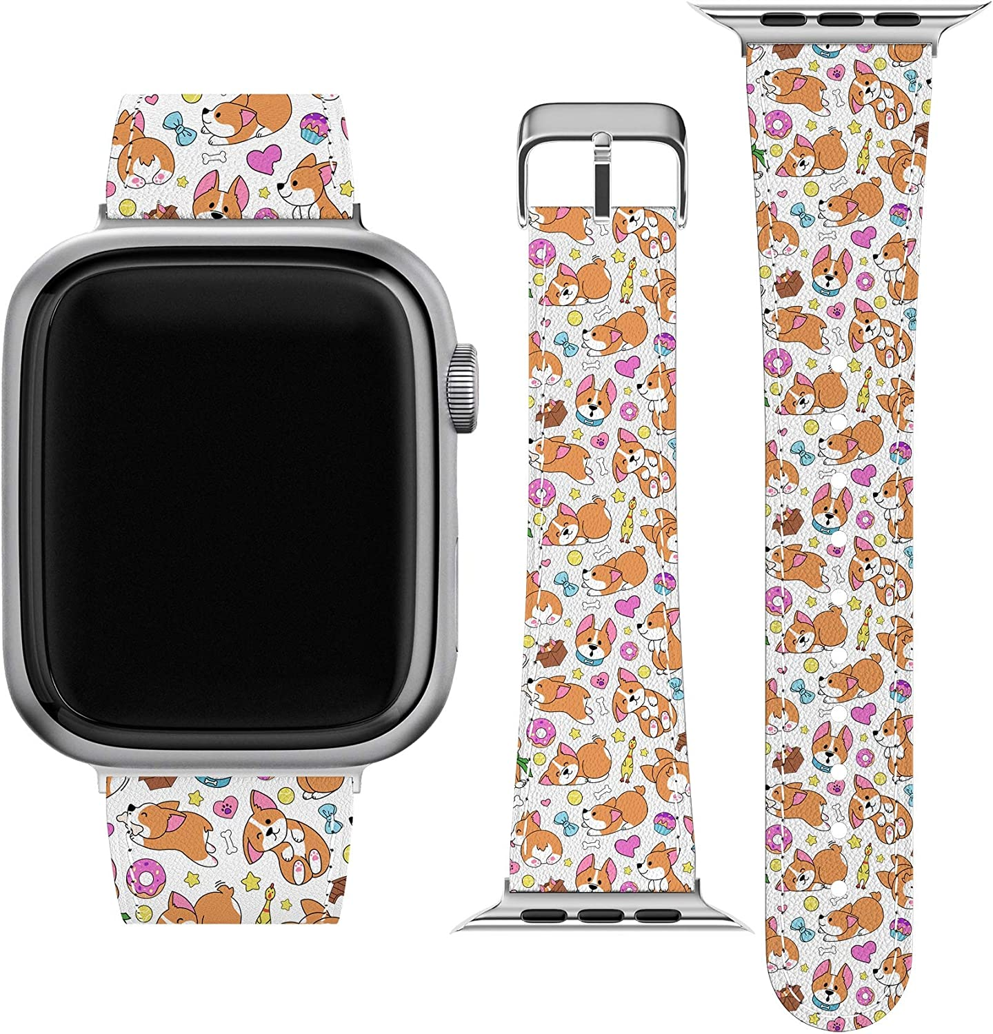 Lex Altern Band Compatible with Apple Watch Series 6 SE 5 4 3 2 1 38mm 40mm 42mm 44mm Dog Butt Corgi Replacement Strap for iWatch Stylish Print Wristband Donuts Cute Funny Pet Durable Thin Puppy wh067