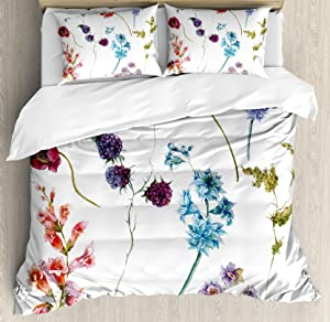Ambesonne Watercolor Flower Duvet Cover Set, Colorful Watercolor Wildflowers and Sprigs Flowers Botanical Garden Theme, Decorative 3 Piece Bedding Set with 2 Pillow Shams, Queen Size, Purple Red