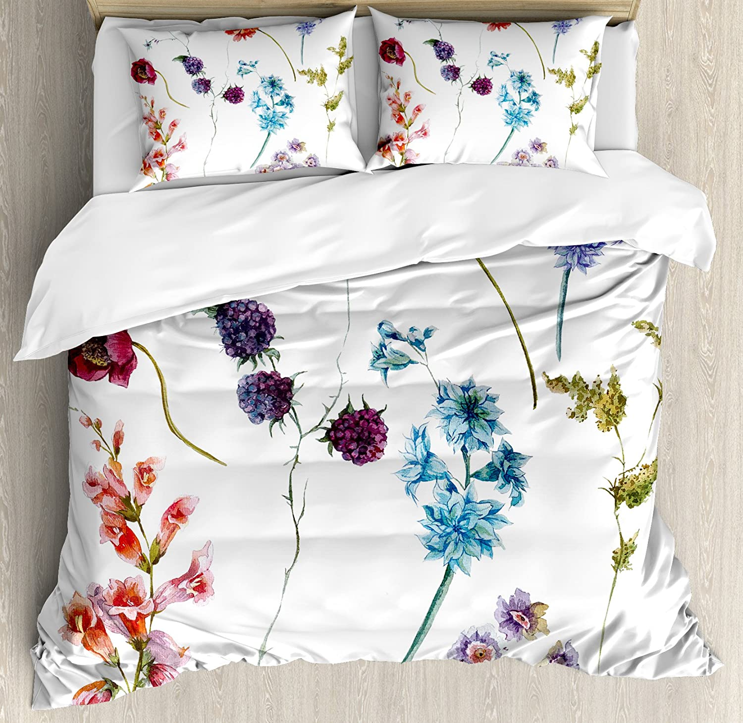 Multicolor Colorful Watercolor Wildflowers and Sprigs Flowers Botanical Garden Theme Ambesonne Watercolor Flower Duvet Cover Set King Size Decorative 3 Piece Bedding Set with 2 Pillow Shams
