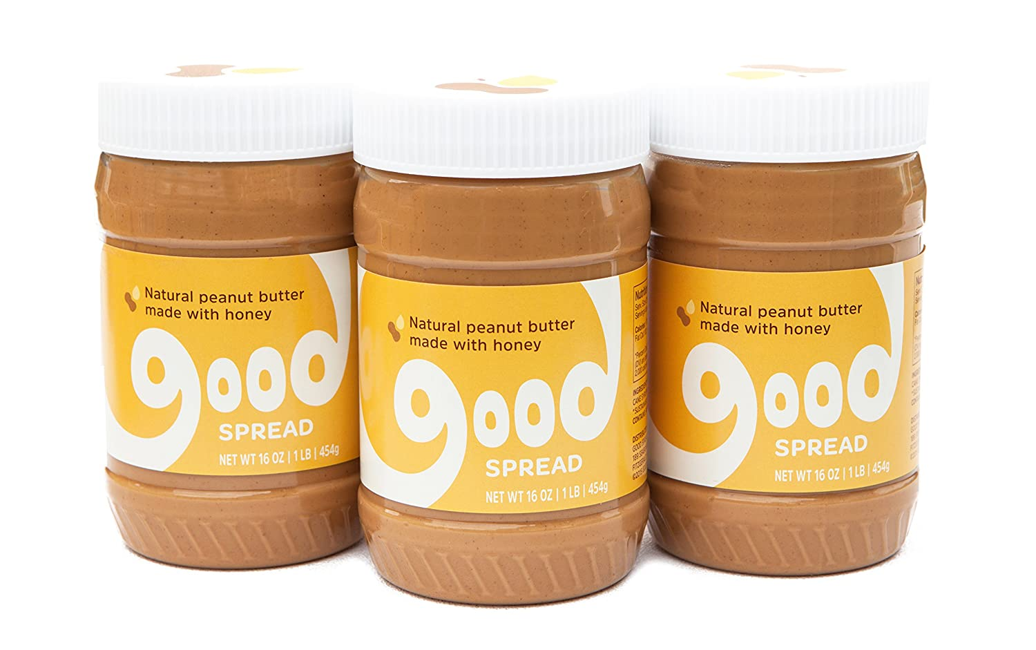Good Spread Natural Peanut Butter Blended with Honey, Smooth, All Natural Magic, 16 oz. Jar (3 pack)