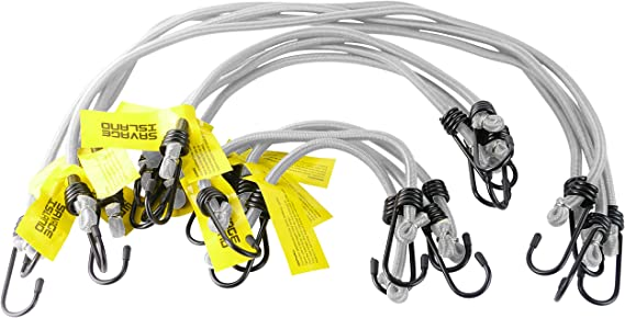 """ELASTICATED BUNGEE CORDS x 10 MILITARY BUNGEES ARMY BASHA STRAPS 12/"""" 18/"""" 30/"""" 8mm"""