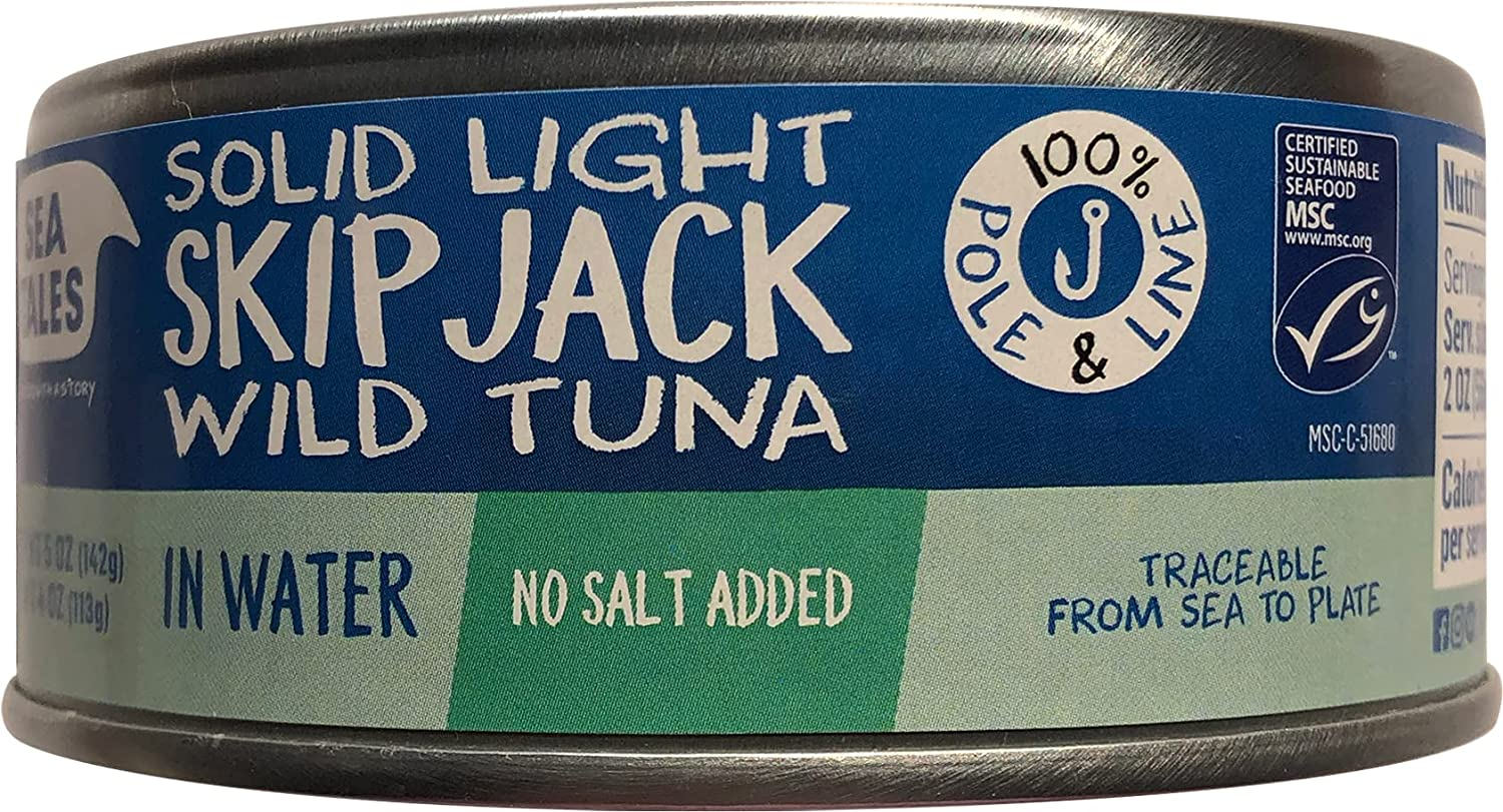 Sea Tales Solid Light Skipjack Canned Tuna in Water - No Salt Added - 100% Pole & Line Wild Sustainably Caught - Gluten Free - High Protein Food - Keto Friendly - 5 oz. Cans (Pack of 12)