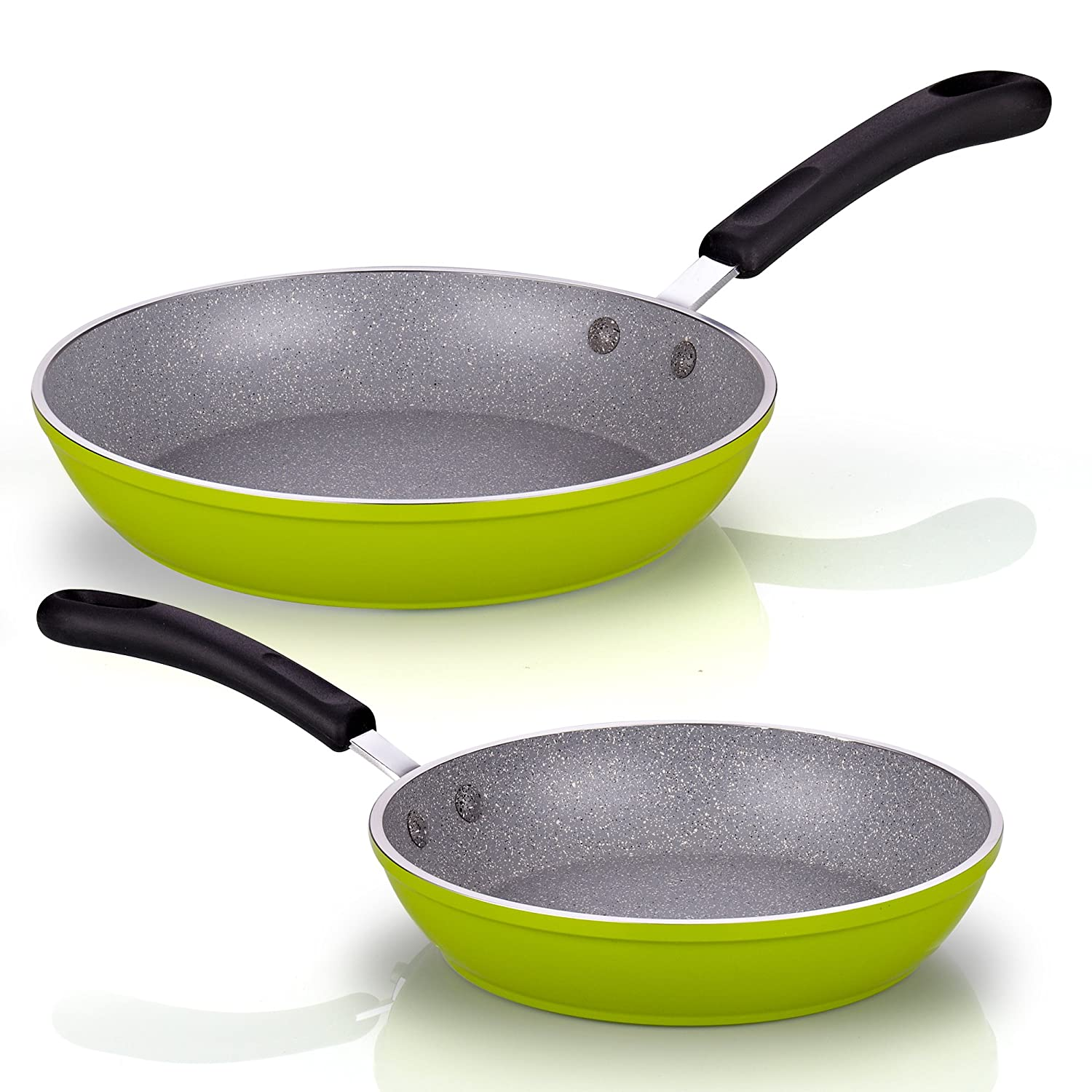 Cook N Home 12-Inch Frying Pan with Non-Stick Coating Induction Compatible Bottom, Large, Green: Amazon.es: Hogar