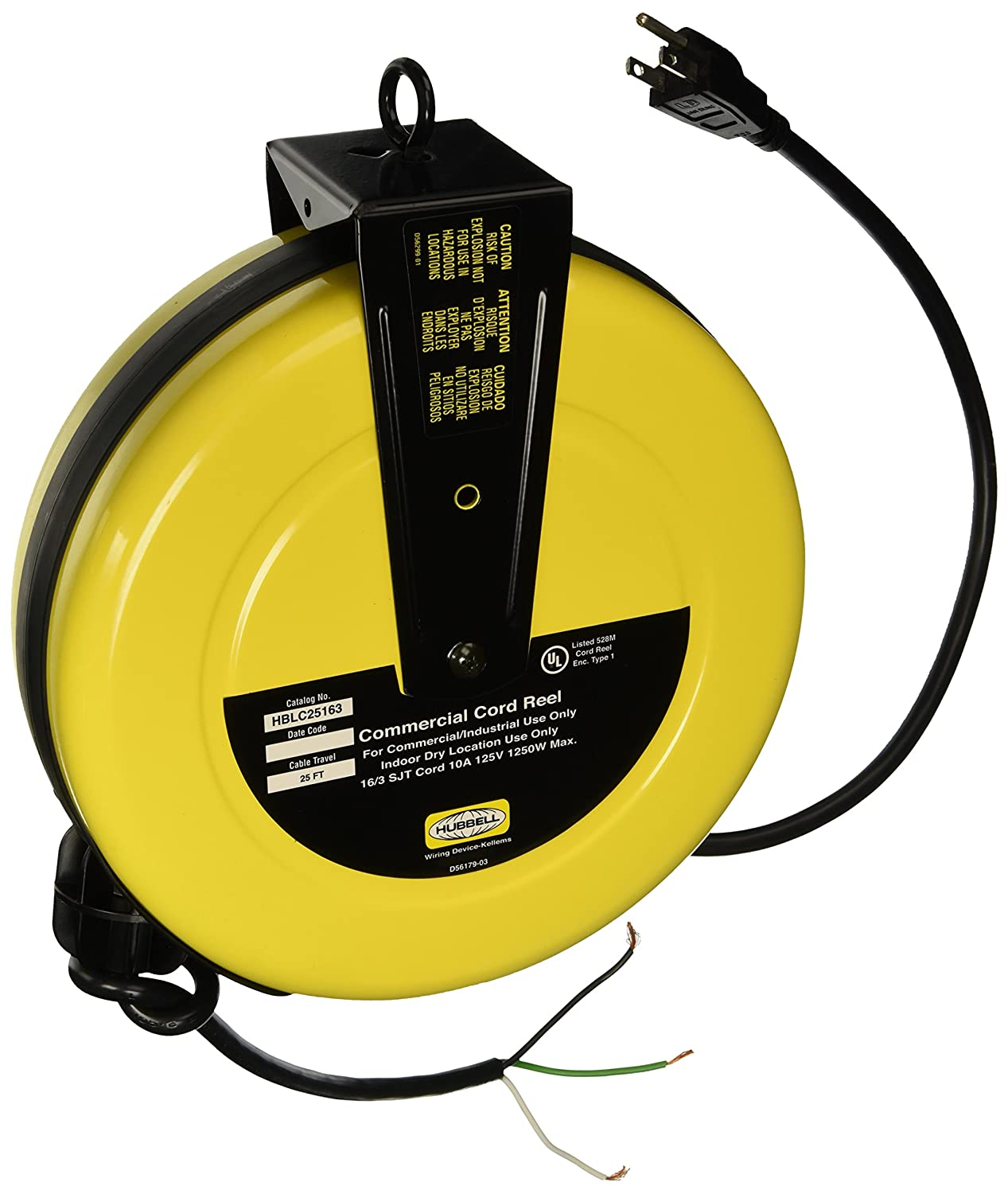 Hubbell Wiring Systems Hblc25163 Commercial Cord Reel With Wire Lead Devices Philippines 25 Cable Length 16 3 Sjt Type 1250w 10 Amp 125vac Yellow