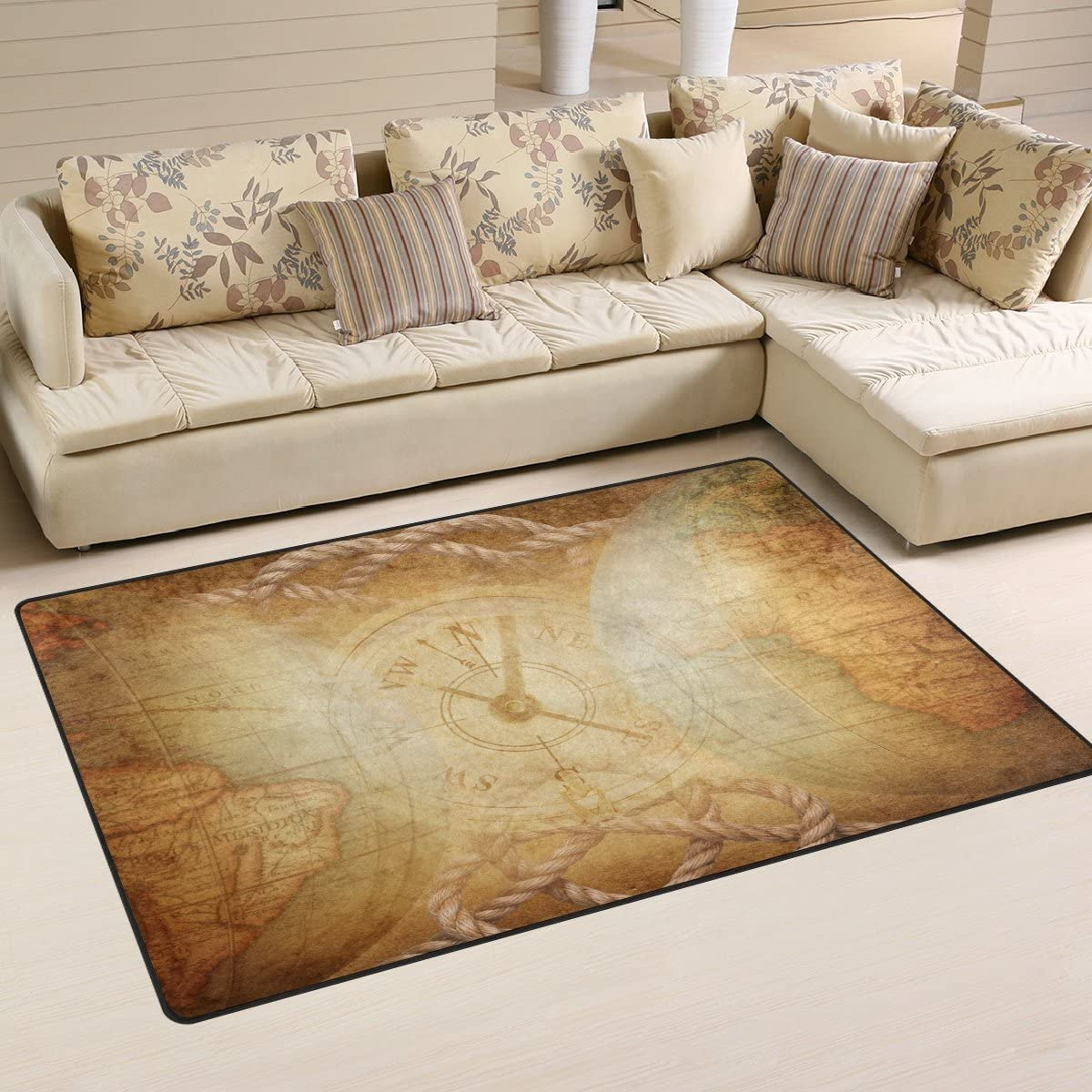 ALAZA Non-slip Area Rugs Home Decor, Vintage Globe and Compass Rose Floor Mat Living Room Bedroom Carpets Doormats 60 x 39 inches