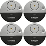 WER DOBERMAN SECURITY Ultra-Slim Window Alarm 4 PACK with Loud 100dB Alarm and Vibration Sensors - Modern & Ultra-Thin Design Compatible with Virtually Any Window - Perfect for Home, Office, Dorm Room or Even RVs 4-Packs