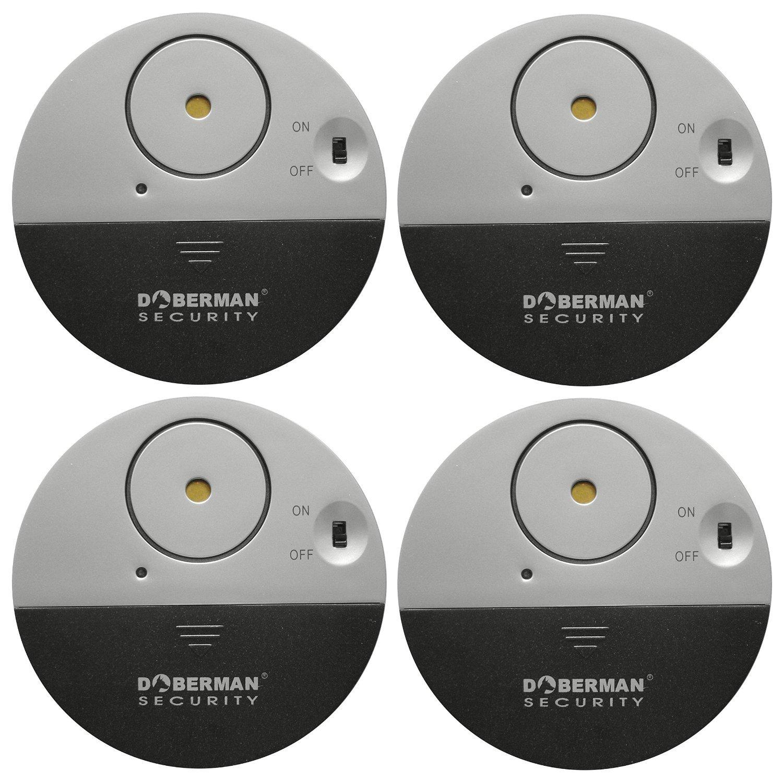TOP-GUARDE Ultra-Dü nner Fensteralarm mit lautem 100dB Schwingungssensor, siren, Window Sensors - Modell SE-0106(4pcs) FC