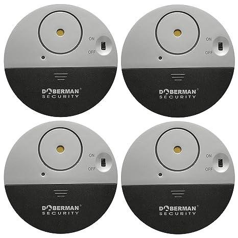 WER Paquete de 4 Cámaras Doberman Security Ultrafinas Para ventana Con Alarma Potente de 100 dB y Sensores de Vibración. Perfecto Para Hogar, Oficina, ...