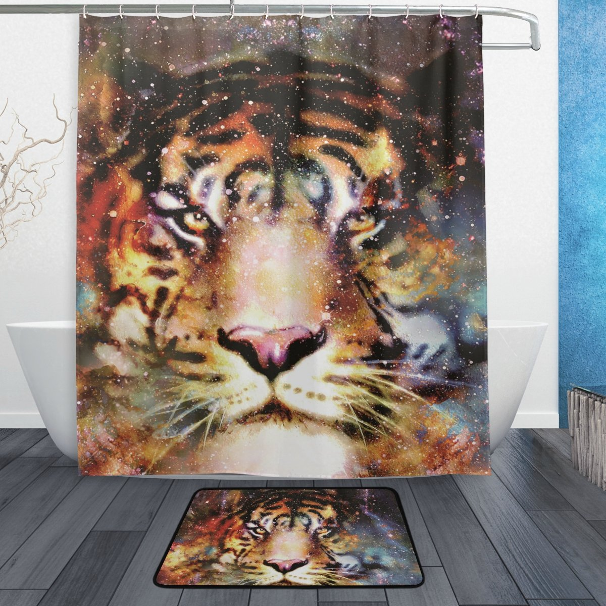 ALAZA Tiger Shower Curtain Galaxy Magical Beast Polyester Fabric Bathroom Curtain Set with Mats Rugs-12 Hooks