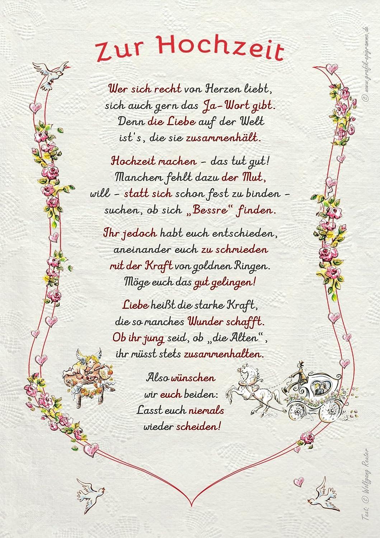 Gedicht Hochzeit Urkunde Geschenk Präsent Jubiläum Amazon
