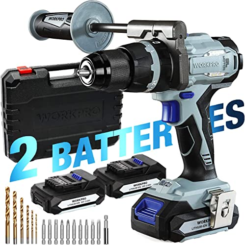 WORKPRO 20V Brushless Cordless Drill Driver Kit, 2 Li-Ion Batteries 2.0 Ah , 1 2 Chuck, 487 IN-LBS, 21 3 Torque Setting, Auxiliary Handle and 17-Piece Drill Driver Bits Included