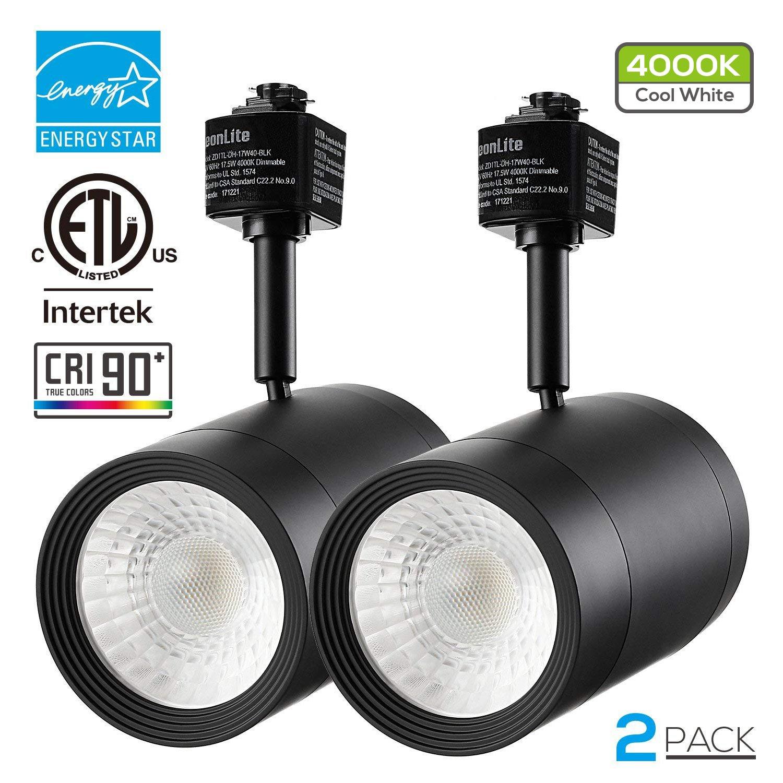 2 PACK 17.5W (85W Equiv.) Integrated CRI90+ LED Black Track Light Head, Dimmable 38° Spotlight Track Light, 1200lm ENERGY STAR ETL-Listed for Accent Task Wall Art Exhibition Lighting, 4000K Cool White