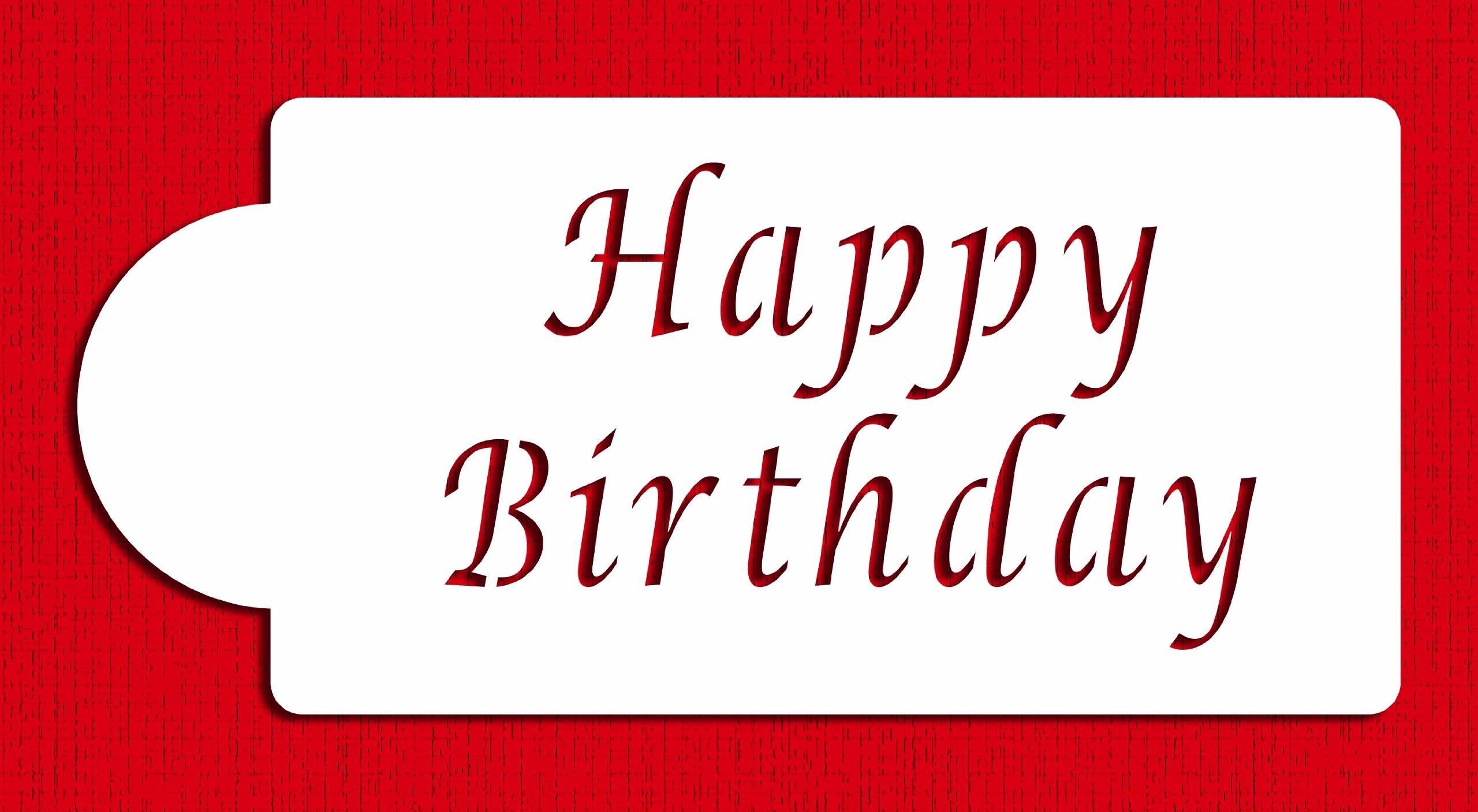 Designer Stencils C013 Happy Birthday Cake Stencil, Beige/semi-transparent by Designer Stencils