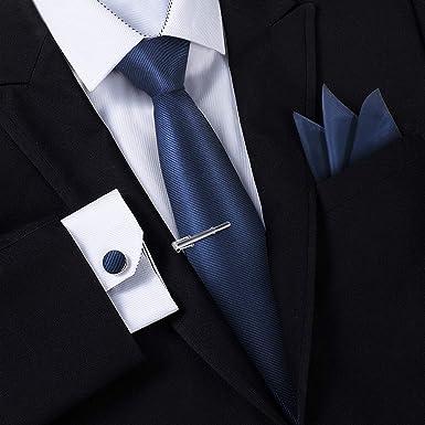varios estilos auténtico buscar original Corbatas para Hombre - Estuche con Pañuelo, Gemelos y Clip de Corbata,  Fabricación a Mano con Seda Sintética de Microfibra en Varios Colores con  Caja ...