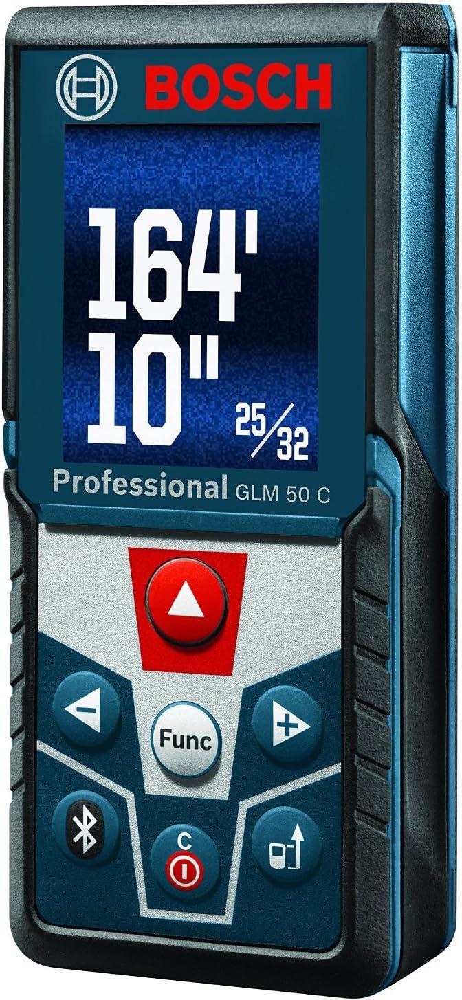 Bosch GLM 50 C Bluetooth Enabled Laser Distance Measurer with Color Backlit D...