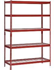 "Muscle Rack UR482472WD5-R 5-Shelf Steel Shelving Unit, 48"" Width x 72"" Height x 24"" Length, Red"