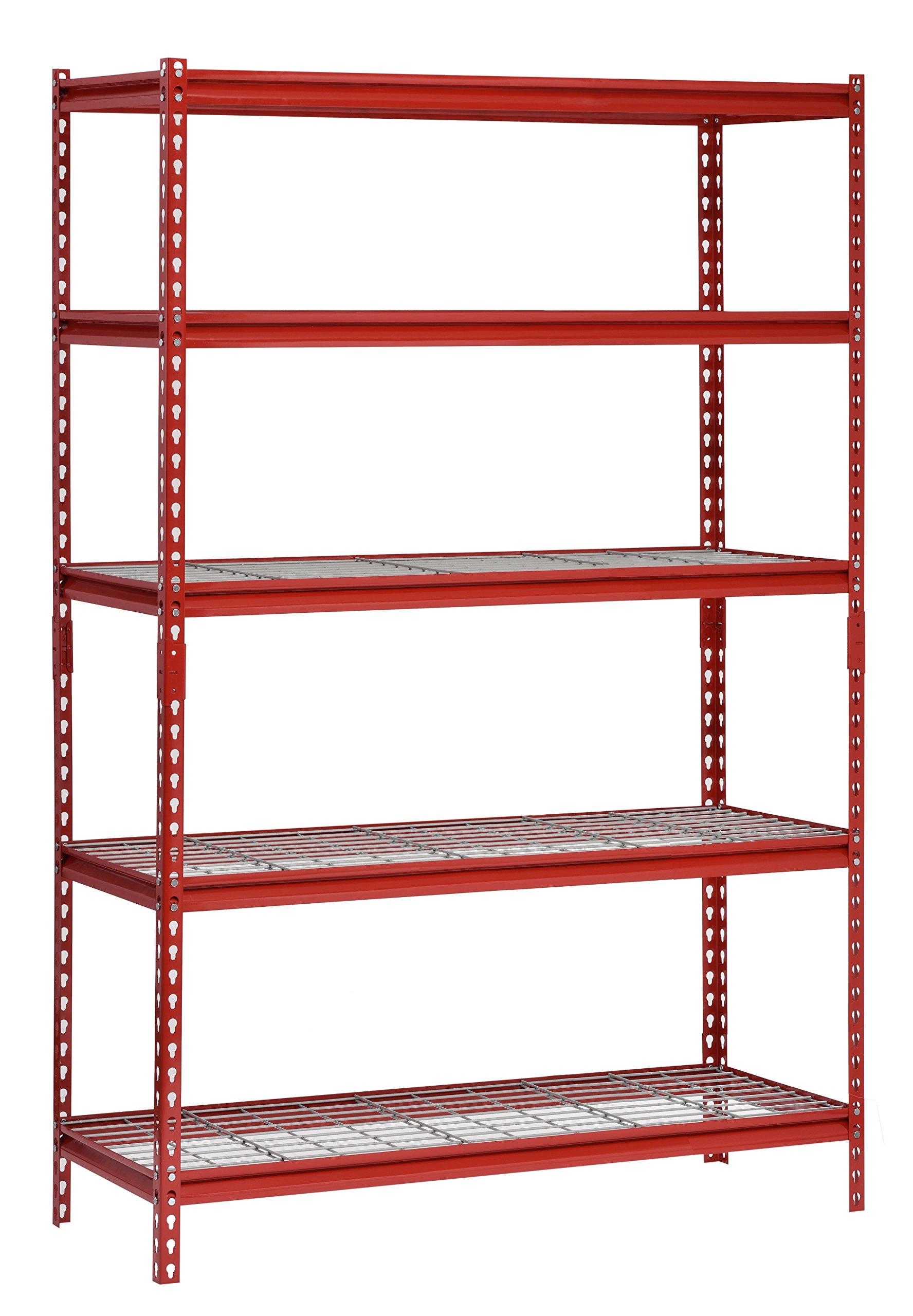 Muscle Rack UR482472WD5-R 5-Shelf Steel Shelving Unit, 48'' Width x 72'' Height x 24'' Length, Red