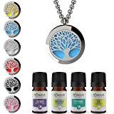 Tree of Life Essential Oil Diffuser Necklace Stainless Steel Locket Pendant with 24 Chain+ 4 Essential Oils (Lavender Peppermint Inner Calm Zen) Gift Set