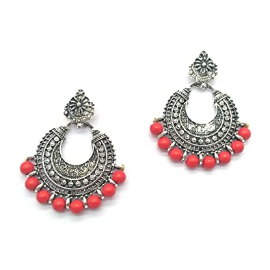 fb6eded12 iKraft Oxidized Chandbali Earrings with Red Beads German Silver Plated  Antique Finish Chandelier Earrings for Girl and Women: Amazon.in: Jewellery