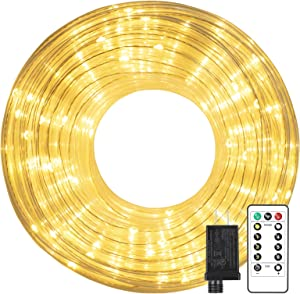 LED Rope Lights, 60 FT 200LEDs 2 Colors in 1 Plug-in Outdoor String Lights with Remote Waterproof Twinkle Fairy Lights for Bedroom, Wedding, Indoor, Garden, Christmas Decor, Warm White & Cool White