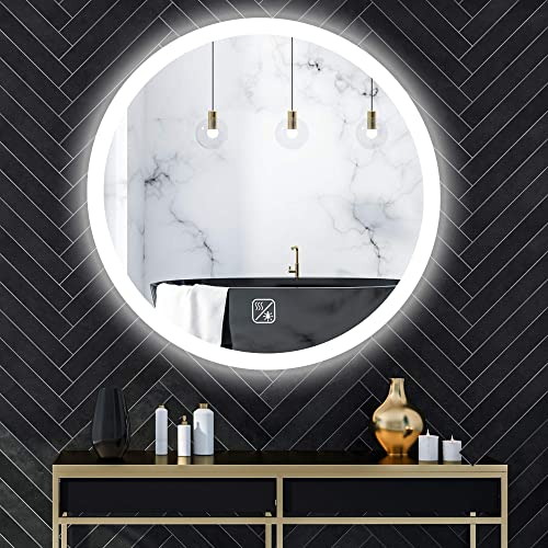SL4U 24 Inch Round LED Wall Mirror Bathroom Vanity Mirror with Touch Switch and Defogger YSJ-A004